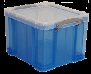 boite plastique really useful 35l transparent bleu. Black Bedroom Furniture Sets. Home Design Ideas