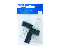 Lot 3 pinces double clips - TOP OFFICE - 40 mm