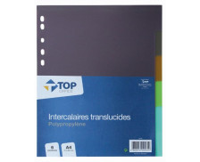 Intercalaires transparents A4 - TOP OFFICE - 6 positions