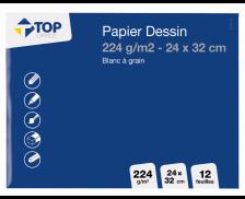 Pochette 12 feuilles papier dessin blanc à grain - TOP OFFICE - 24x32 cm - 224g