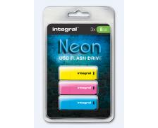 Pack de 3 Clés USB 2.0 Néon - INTEGRAL - 8 Go