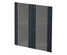 Jeu de porte verre étagère basse FLORA, largeur : 80 cm - Finition Noire