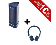 Ensemble enceinte bluetooth Wae outdoor 04+ - HERCULES - Bleu + casque bluetooth Lumina - RYGHT - Bleu