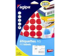 400 Pastilles AGIPA - Diam 24mm - Rouge
