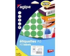 400 Pastilles AGIPA - Diam 24mm - Vert