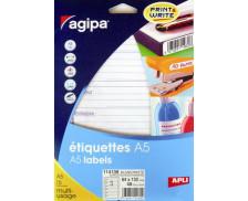 48 Etiquettes expéditeur/destinataire AGIPA - 64x133mm - Blanc
