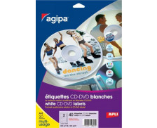 40 Etiquettes CD AGIPA - Diam 114mm - Blanc