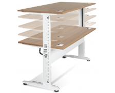 Bureau électrique assis-debout - TOP OFFICE - Pieds métal - Largeur 160 cm - Blanc/merisier
