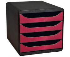 Bloc de Classement Bigbox - EXACOMPTA - 4 Tiroirs - Noir Rouge