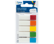 100 notes adhésives repositionnables marques-pages - TOP OFFICE - 12x45 mm