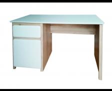 Bureau droit - VINTAGE - Chêne/Blanc - Largeur 122 cm