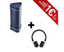 Ensemble enceinte bluetooth Wae outdoor 04+ - HERCULES - Bleu + casque bluetooth Lumina - RYGHT - Noir