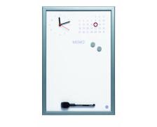 Mémo horloge magnétique - BI OFFICE - 45x30cm - Gris