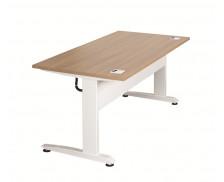 Plateau bureau électrique assis debout - TOP OFFICE - Pieds métal - Blanc/Merisier
