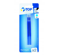 Lot de 2 recharges pour stylos roller - TOP OFFICE - Bleu