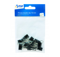 Lot 12 pinces double clips - TOP OFFICE - 19 mm