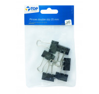 Lot 6 pinces double clips - TOP OFFICE - 25 mm