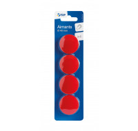 4 aimants diamètre 40 mm - TOP OFFICE - Rouge