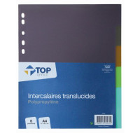 Intercalaires A4 - TOP OFFICE - 6 positions - Transparents