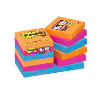 Lot 12 blocs supersticky - POST IT - 51x51 mm - Orange/rose/bleu