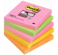 5 blocs supersticky - POST IT - 76x76 mm - Assortiment neon