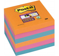 6 blocs supersticky - POST IT - 76x76 mm - Orange/rose/bleu