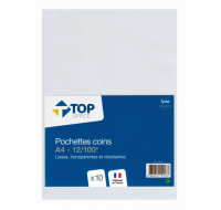 Lot de 10 pochettes lisses A4 - TOP OFFICE - 12/100e - Transparent