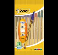 Lot de 10 stylos bille cristal - BIC - 4 couleurs