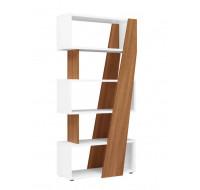 Bibliothèque réversible gauche/droite - XENON - L90 x H186 - Finition merisier/blanc