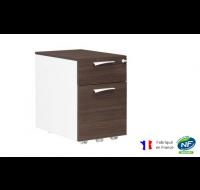 Caisson 2 tiroirs - XENON - L42 cm - Finition chêne/blanc