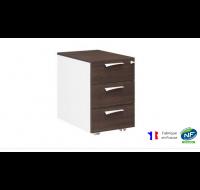 Caisson 3 tiroirs - XENON - L42 cm - Finition chêne/blanc