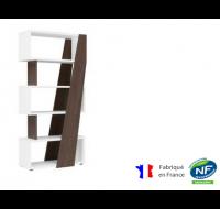 Bibliothèque réversible gauche/droite - XENON - L90 x H186 - Finition chêne/blanc