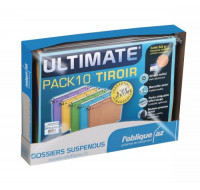 Pack 10 Dossiers Suspendus - AZO ULTIMATE - Coloris Assortis - Fond V