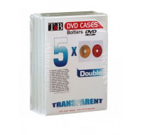 Pack de 5 boîtiers slim doubles DVD T'nB - Transparent