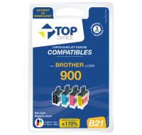 Pack de 4 cartouches jet d'encre compatibles BROTHER : B21 LC900 - TOP OFFICE - Noir et couleurs