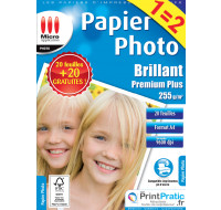 20 + 20 feuilles papier photo A4 - MICRO APPLICATION - 255g