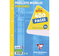 400 pages feuilles mobiles A4 21x29,7 cm - CLAIREFONTAINE - Grands carreaux