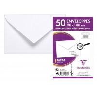 Lot de 50 enveloppes de visite blanches - CLAIREFONTAINE - 9x14 cm - 120g