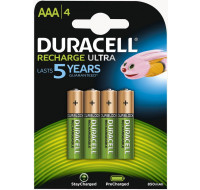 Pack de 4 piles rechargeables AAA StayCharged - DURACELL