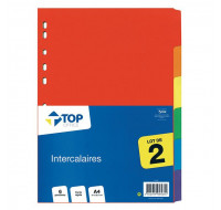 Intercalaires A4 - TOP OFFICE - 6 positions - lot de 2