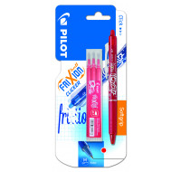 Stylo roller Frixion ball Clicker + 3 recharges - PILOT - Rouge