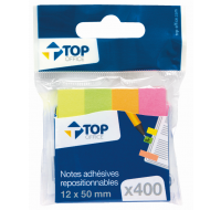 400 notes adhésives repositionnables marques-pages - TOP OFFICE - 12x50 mm
