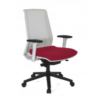Chaise de bureau dactylo Ergo Compact - TOP OFFICE - Blanc/rouge