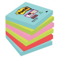 Lot de 6 blocs notes repositionnables super sticky Miami - POST IT - 90 feuilles - 76x76 mm