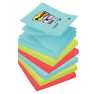 Lot de 6 recharges Z note super sticky Miami - POST IT - 90 Feuilles - 76x76 mm