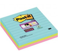 Lot de 3 blocs notes repositionnables Super Sticky lignes Miami - POST IT - 101x101 mm