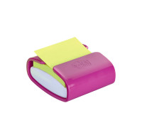 Dévidoir plastique de notes repositionnables - POST-IT - Fushia - 76x76 mm