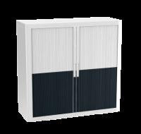 Armoire basse à rideaux - EASY OFFICE - H104xL110 cm - Noir/Blanc