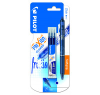 Stylo roller FriXion Ball Clicker + 3 recharges - PILOT - Bleu nuit