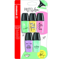 Lot de 5 surligneurs Stabilo Boss Mini Pastellove - Assortiment de couleurs